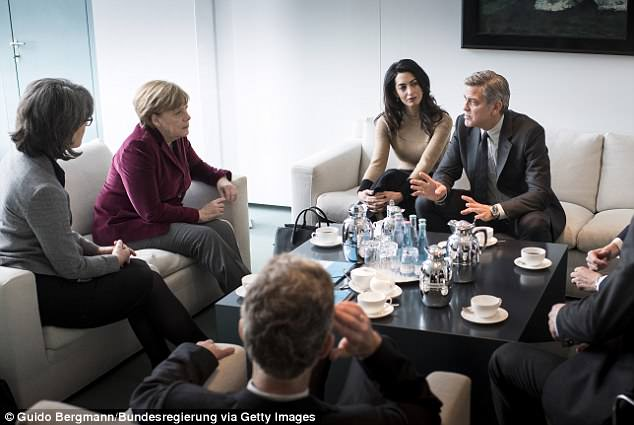 In this picture, Chancellor  Angela Merkel meets with actor George Clooney and human rights lawyer Amal Clooney at the Federal Chancellery to talk about refugee policy and Germany
